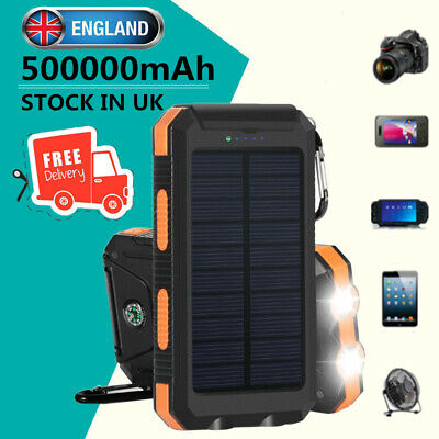 Solar Waterproof 500000mAh Power Bank External Battery Charger for Cell Phone UK