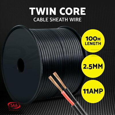 2.5MM Electrical Cable Twin Core Extension Wire 100M Car Caravan 450V 2 Sheath