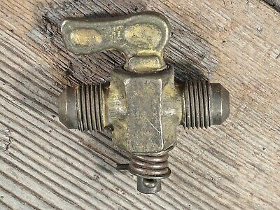 "old brass 1/4 turn valve gas line steam engine both 3/8"" Flare fitting vintage"