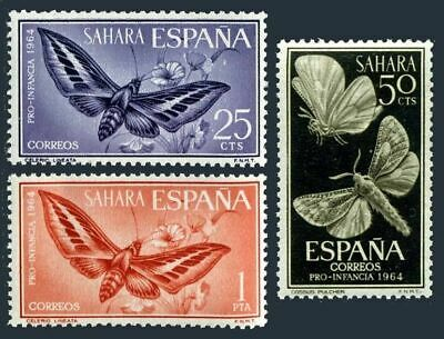 Spanish Sahara 142-144,MNH.Michel 256-258. Moth and flowers,1964.