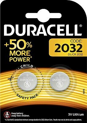 2 Pack DURACELL DL/CR 2032 3V Lithium Coin Cell Battery Batteries LONG EXPIRY