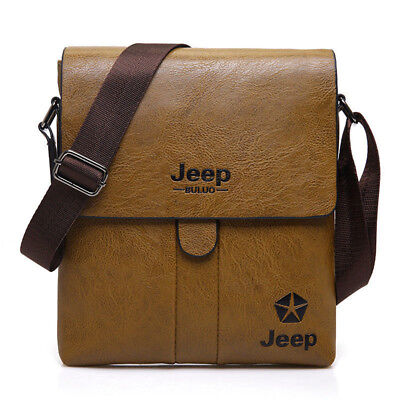 Mens Briefcase Jeep Messenger Bag PU Leather Crossbody Male Shoulder Bag THX