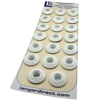 20 White Plastic Snap Eyelets 12mm, Washer Sealed for Tarpaulin & Groundsheets