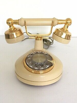 Vintage WESTERN ELECTRIC Rotary Dial Cradle Phone French Ivory Gold Metal