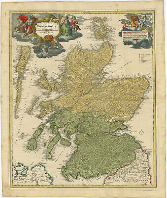 Antique Map-SCOTLAND-REGNUM SCOTIAE-GREAT BRITAIN-Homann Heirs-c. 1750
