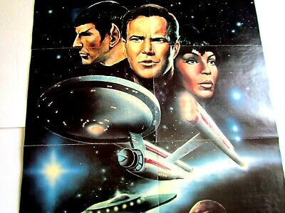 Rare Large Vintage 1960's/70's? Double-Sided STAR TREK ENTERPRISE POSTER- 20x31