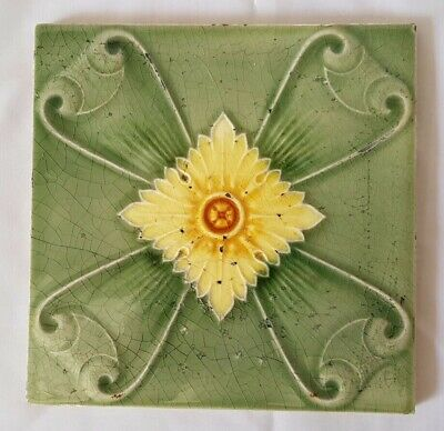 Stunning Art Nouveau Sunflower Antique 6 Inch Tile Circa 1880-1910