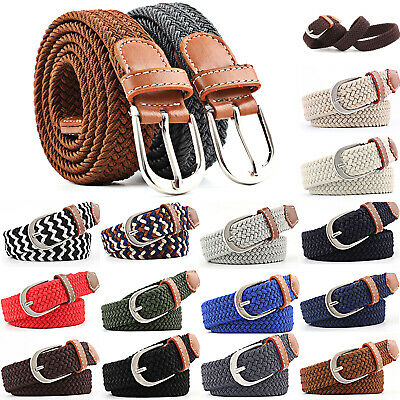New 2109 Men & Women Canvas Elastic Fabric Woven Stretch Silver Buckle Waistband