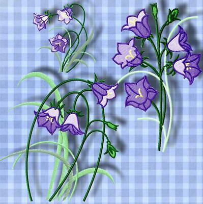VIOLET BELL FLOWER 10 MACHINE EMBROIDERY DESIGNS CD or USB
