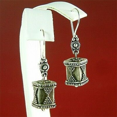 Antique Style Handcrafted Ornate Sterling Silver Box Boho Earrings Xmas Gift New