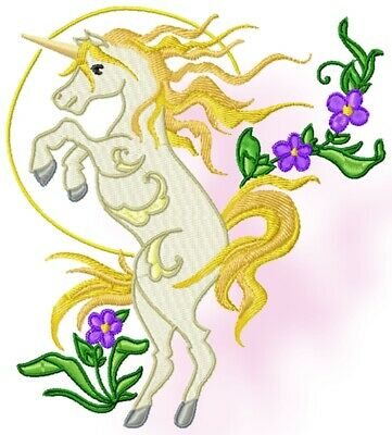 UNICORNS AND FLOWERS 10 MACHINE EMBROIDERY DESIGNS CD or USB