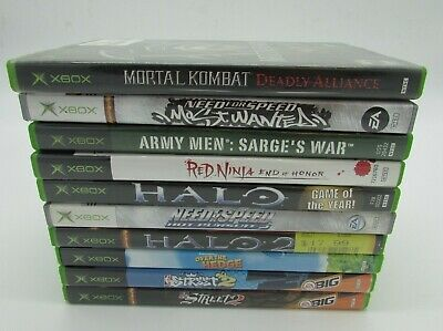 Original XBOX Video Game Games lot of 10 Used Need For Speed NFL NBA Halo