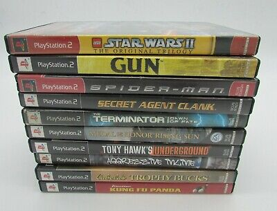 Playstation 2 PS2 Video Game Games lot 10 GUN Tony Hawk Medal of Honor Spiderman