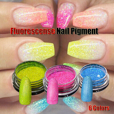 6 Colors Neon Nail Powder Fluorescence Powder Nail Glitter Dust 3D Holographic