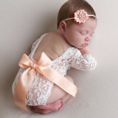 Newborn Baby Girl Lovely Bowknot Lace Romper Flower Headband Photo Props Fine