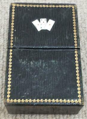 Playing Card Box Antique 1890 Leather Covered Adolf Nater Box