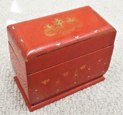 Playing Card Box Antique Vintage 1920s Japanese Lacquered Wooden Box