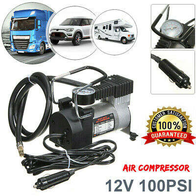 12V Portable 100PSI Tyre Inflator & Gauge Pump Car Air Compressor Tyre Deflator