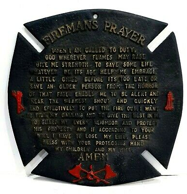Retro Vintage Cast Iron Fireman's Prayer Wall Plaque For Bar Or Man Cave
