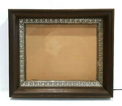 Mid Century Dark Wood Wooden Wall Hanging Picture Frame & Gold Embellished Liner
