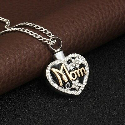 Silver MOM Cremation Pendant for Ashes Funeral Ash Holder Heart Necklace Mum UK