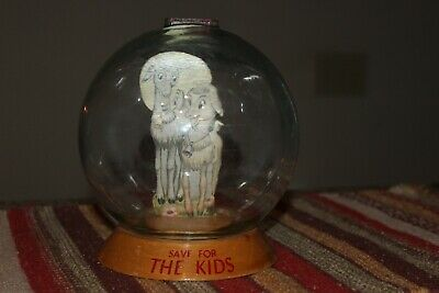 Vintage Vic Moran Bubble Glass Globe Money Meter Bank Save for the Kids Goats
