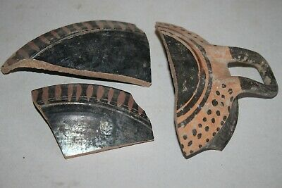 3 ANCIENT GREEK  POTTERY SHARD 3rd CENTURY BC