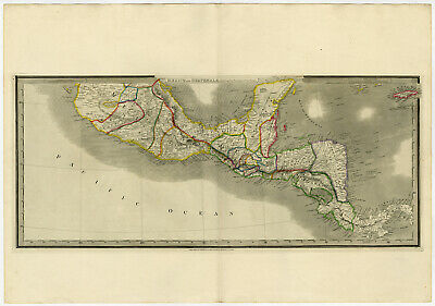 Antique Map-CENTRAL AMERICA-MEXICO-GUATEMALA-MINING-Wyld-1850