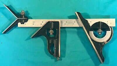 "Starrett 12"" 4R Grad. Combination Set Square Center & Protractor Heads"
