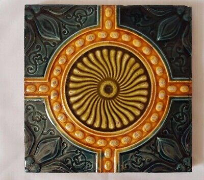 Striking Symmetrical Antique Aesthetic Sunflower Tile. Great Tones