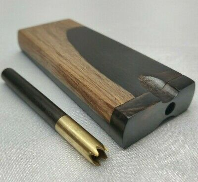 Black Ebony Wood Dugout w/ Tan Outer Ring, Brass One Hitter w/ Grinder and Ebony