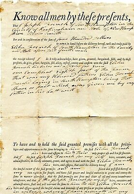 1809 Document Sale Of Land South Hampton Nh Joseph French To Elihu French