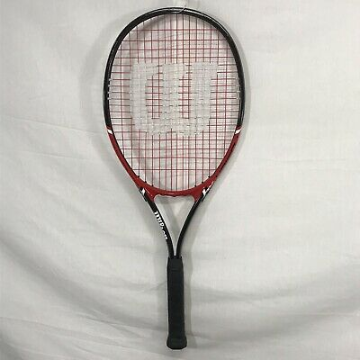 Wilson Fusion XL Tennis Racket V Matrixes Stop Shock 4 3/8 Red With Black Grip