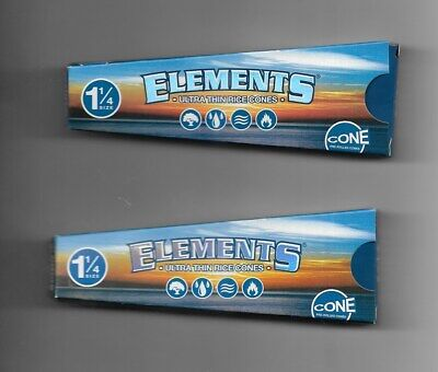 2 Pack Elements Pre-Rolled Ultra Thin Rice Cones Cigarette Paper 1 1/4 Size