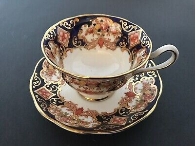 Royal Albert Crown China  Cup & Saucer Derby Heirloom Imari Cobalt Blue Gold