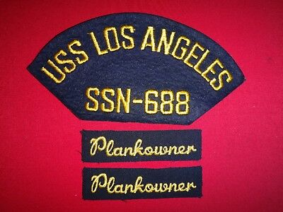 Lot Of 3 US Navy Toppe : Uss Los Angeles SSN-688 + Paio di Plankowner