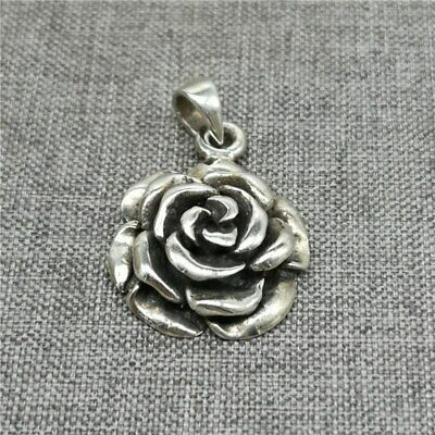 925 Sterling Silver Rose Flower Pendant 3D for Necklace