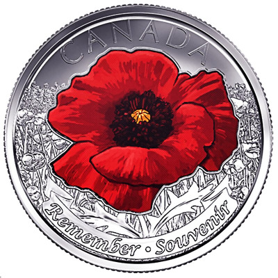 Canada quarter 25 cents coin, Remembrance Poppy, Colored, 2015