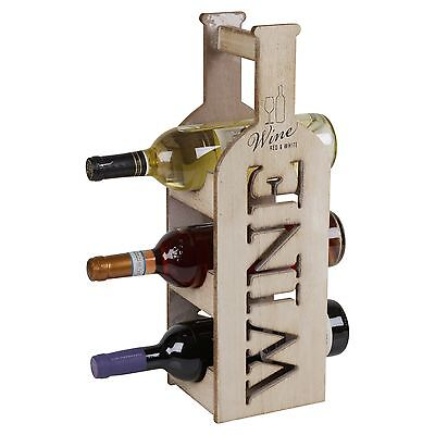Wooden 3 Tier Wine Rack Bottle Holder Shabby Chic Standing Table Top Storage NEW