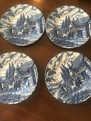 "4 Plates 7 3/4"" Blue And White  Myott Blue Royal Mail Staffordshire  China"