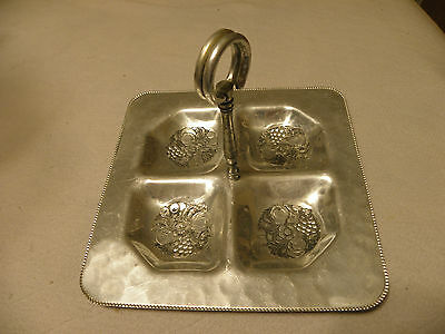 Vintage hammered aluminum serving dish marked Cromwell