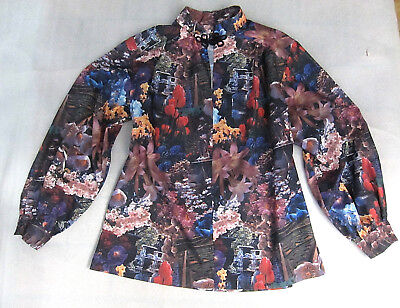 RARE Vintage 1970's Photographic Floral Polyester Blouse / Top - 10 / 12 / 14