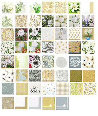 Gold Cream White Beige Silver napkins 4 individual napkins ideal for decoupage