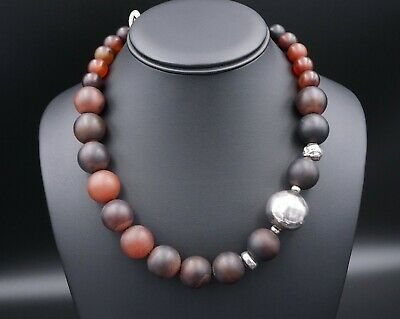 """Silpada Sterling Silver Brown Red Agate Graduated Necklace 18"""" 20"""" N1822 NS1511"""