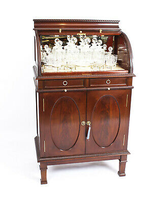 Antique Mahogany Drinks Cocktail Cabinet  Dry Bar 19th Cent