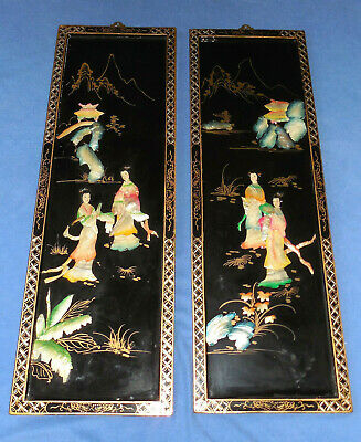 """2 Vintage Black Lacquer Mother Of Pearl 36""""  Asian Art Wall Hangings"""