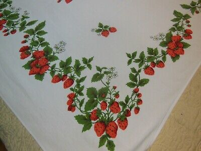 Vintage SIMTEX STRAWBERRY ROYAL Tablecloth Red Berries Green Leaves