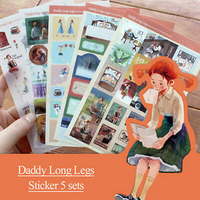 Daddy Long Legs Illustrated Stickers 5EA for Planner Book Calendar Point Decor