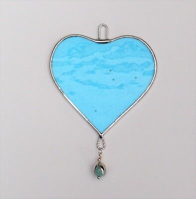 Stained Glass Hanging suncatcher (Love Heart) light blue glass with blue bead