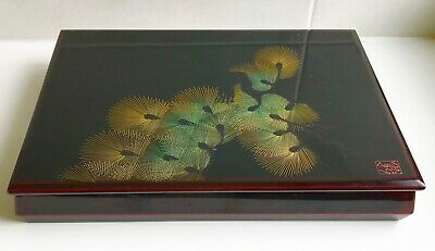 Vintage Japanese Lacquer Work Box Signed 29 x 21 cm Black Greeen Gold
